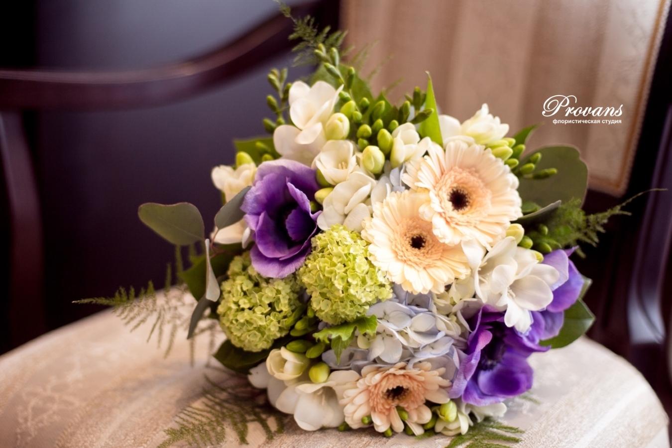 Букет невесты. Герберы, анемоны, гортензия, фрезия
