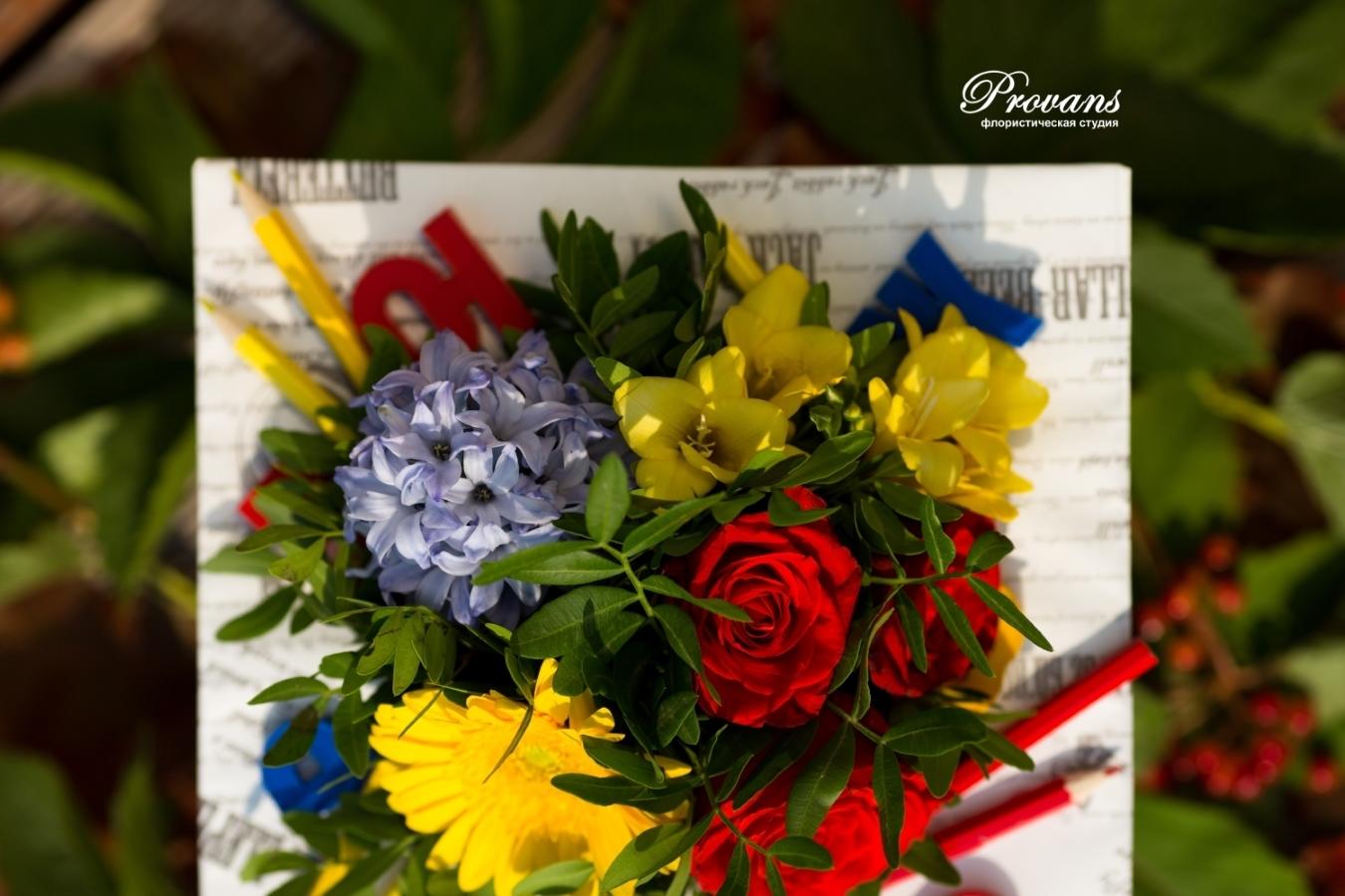 Букет на 1 сентября. Герберы, гиацинты, фрезия, розы