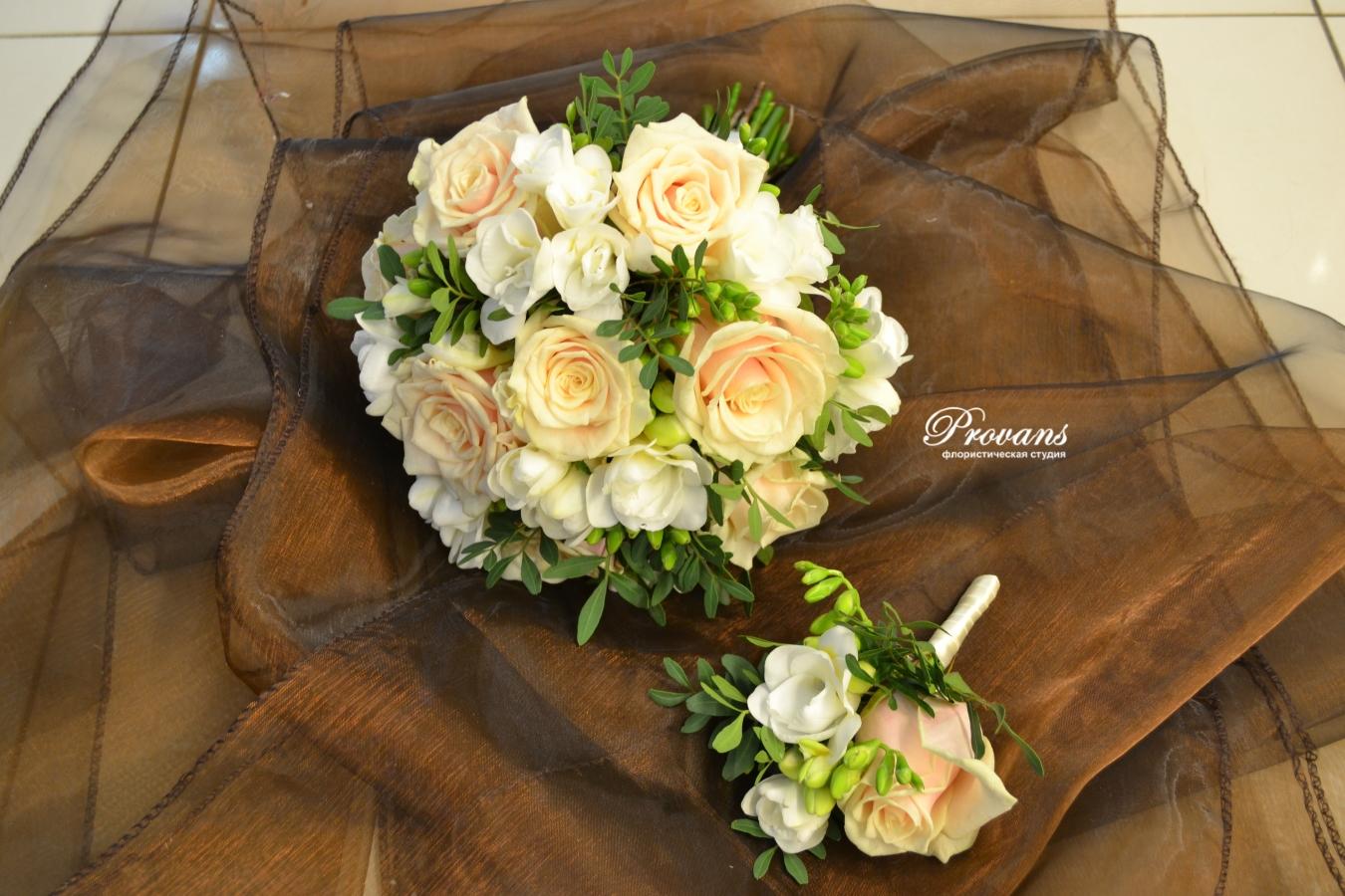 Свадебный букет. Роза Талея, фрезия