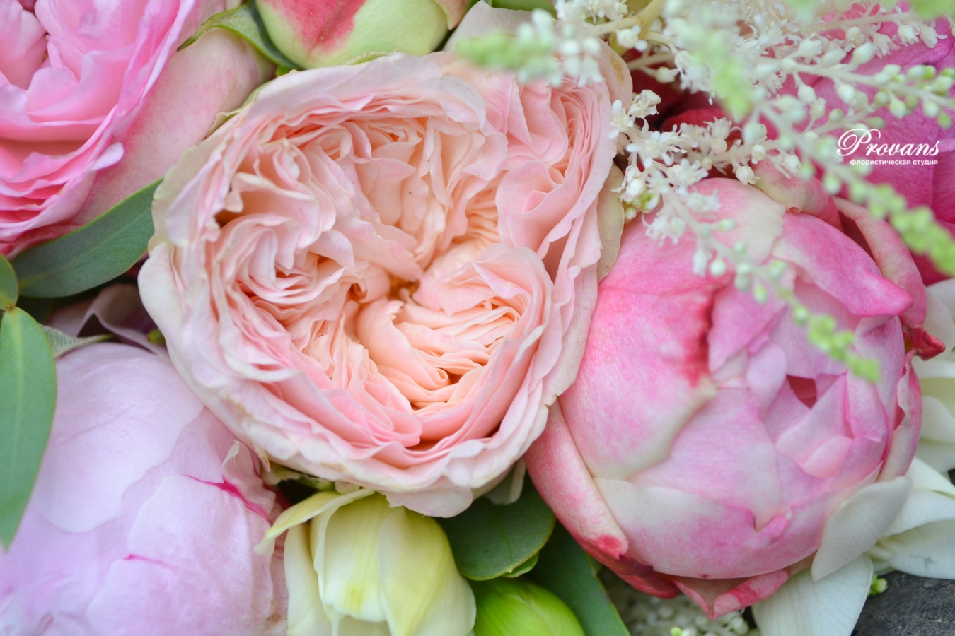 Свадебный букет. Пионы, розы