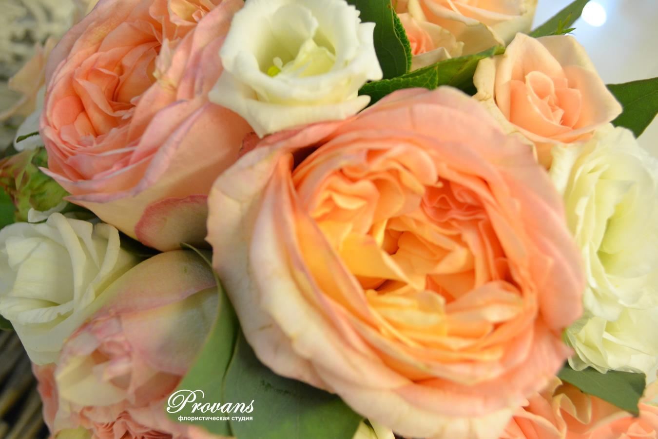 Букет невесты. Французские розы, эустома, персиковое эхо, Peach Echo