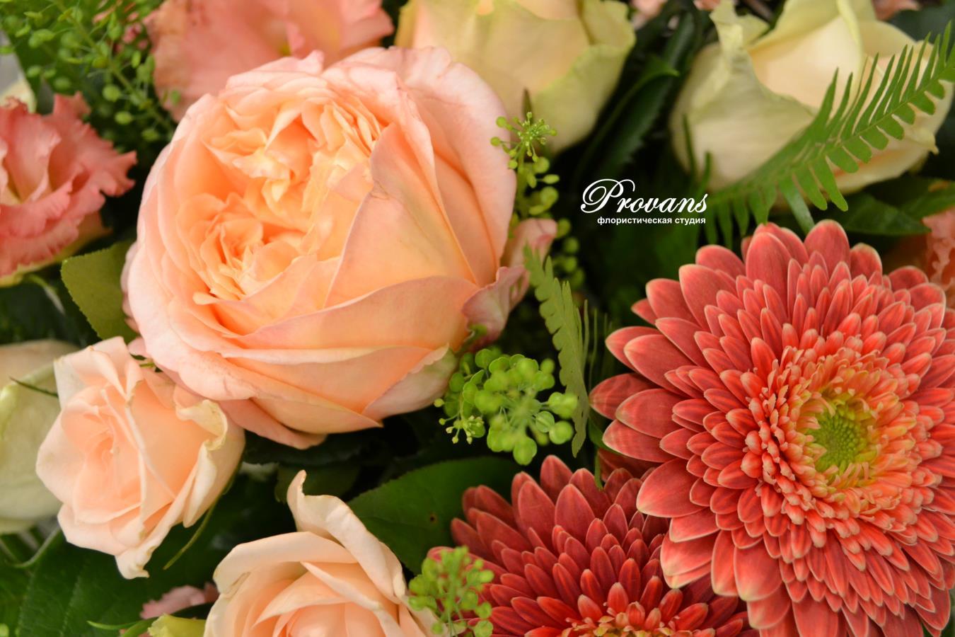 Бизнес букет. Французская роза, гербера, лизиантус