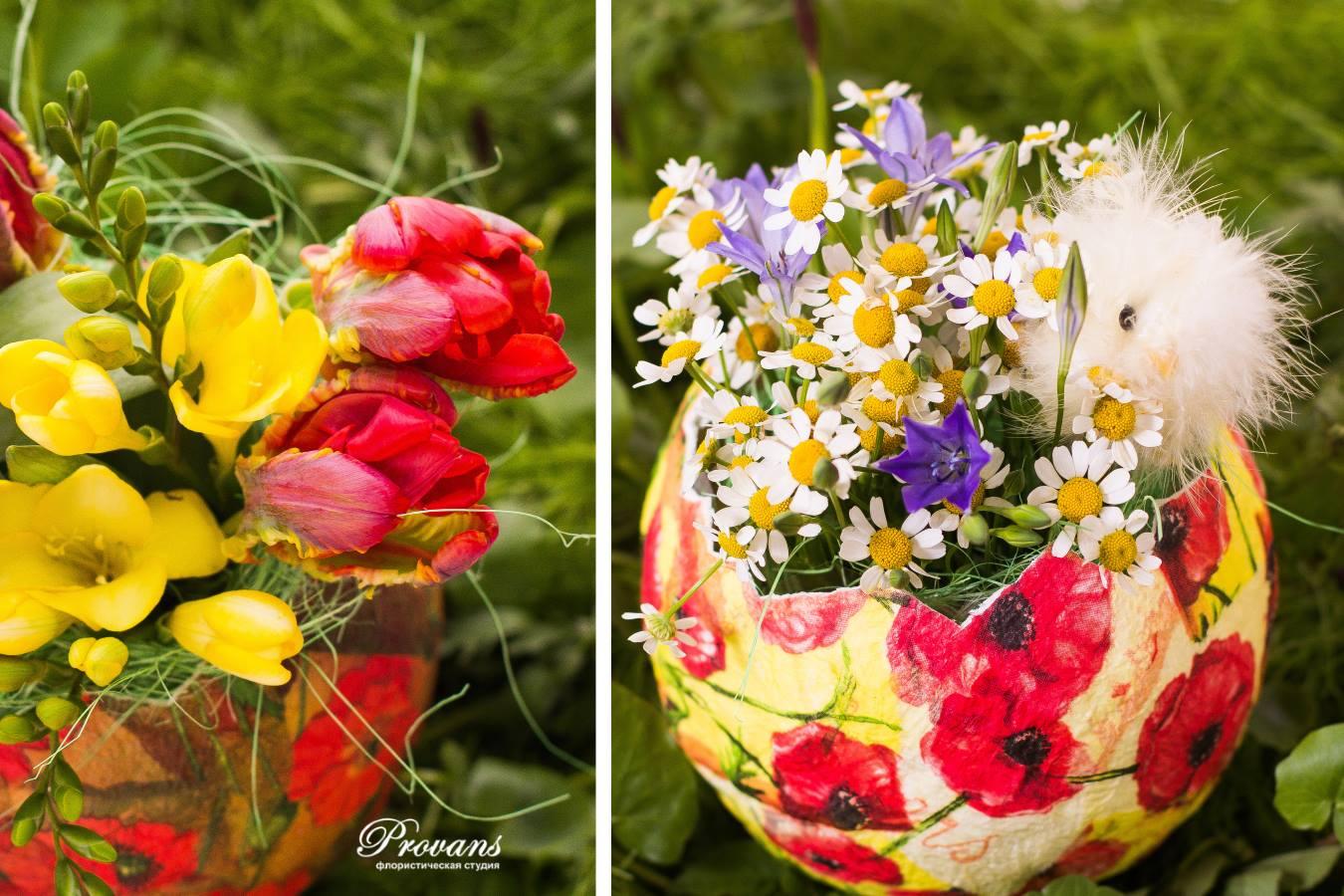Композиция на Пасху. Цветы: тюльпаны, фрезия, ромашки, бродея