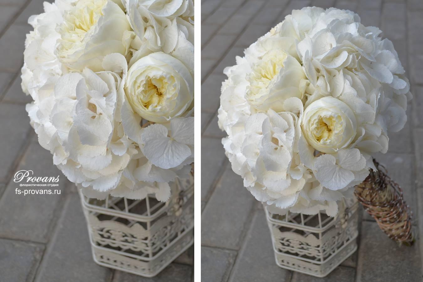 Свадебный букет. Белая гортензия, ароматная роза