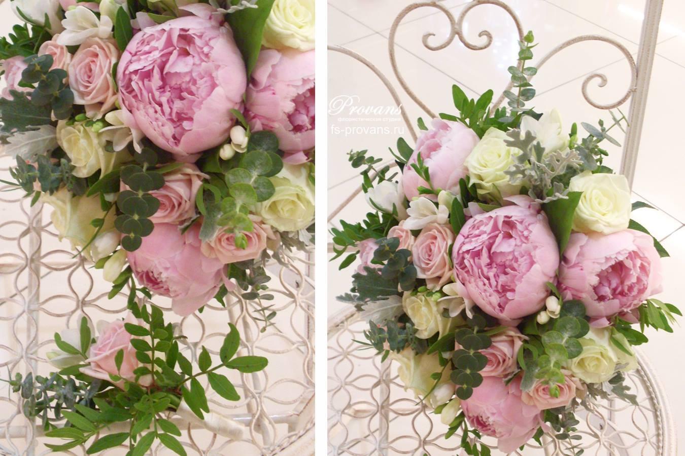 Свадебный букет. Пионы, розы, фрезия