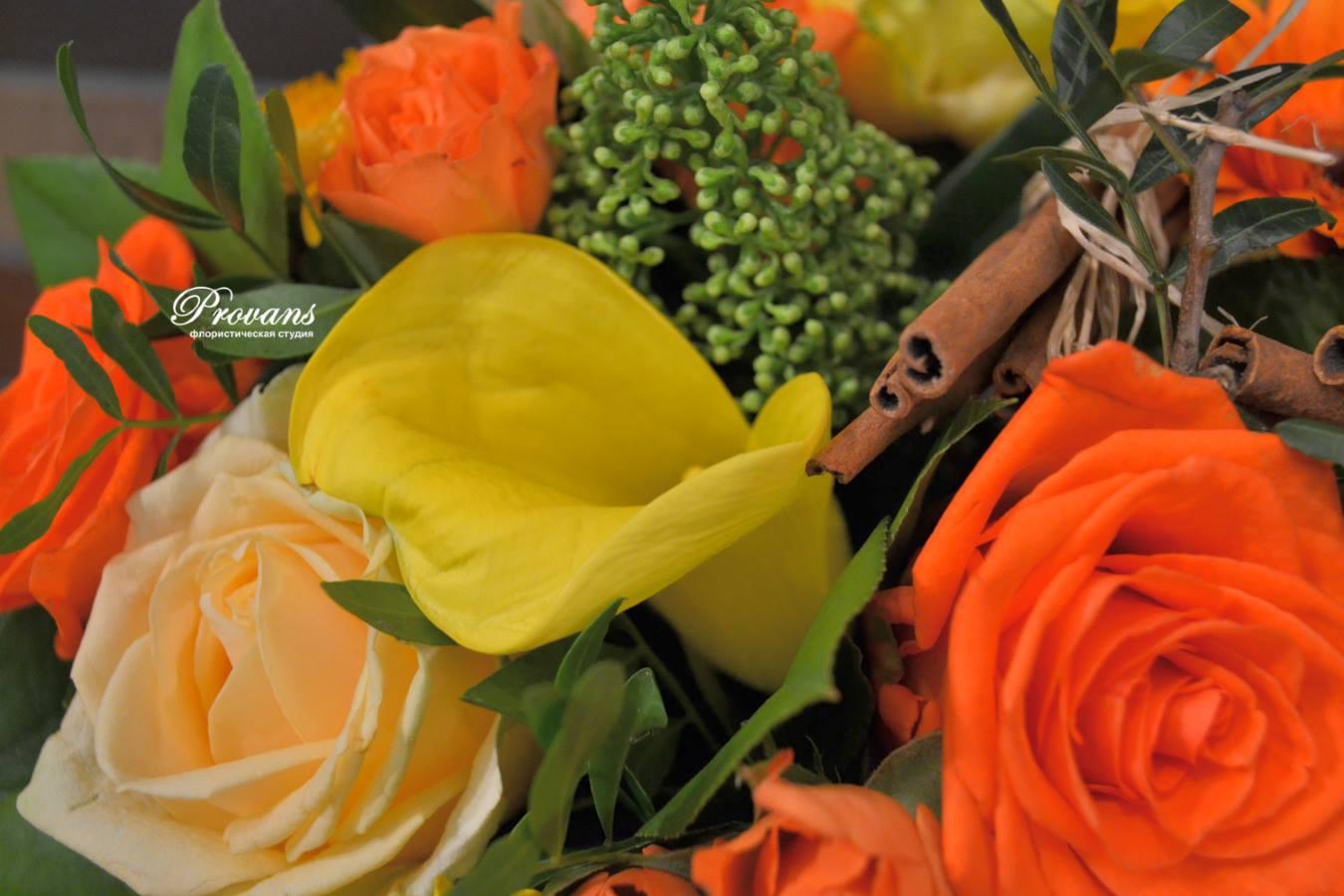 Мужской букет на день рождения. Розы, гербера, калла, тюльпаны