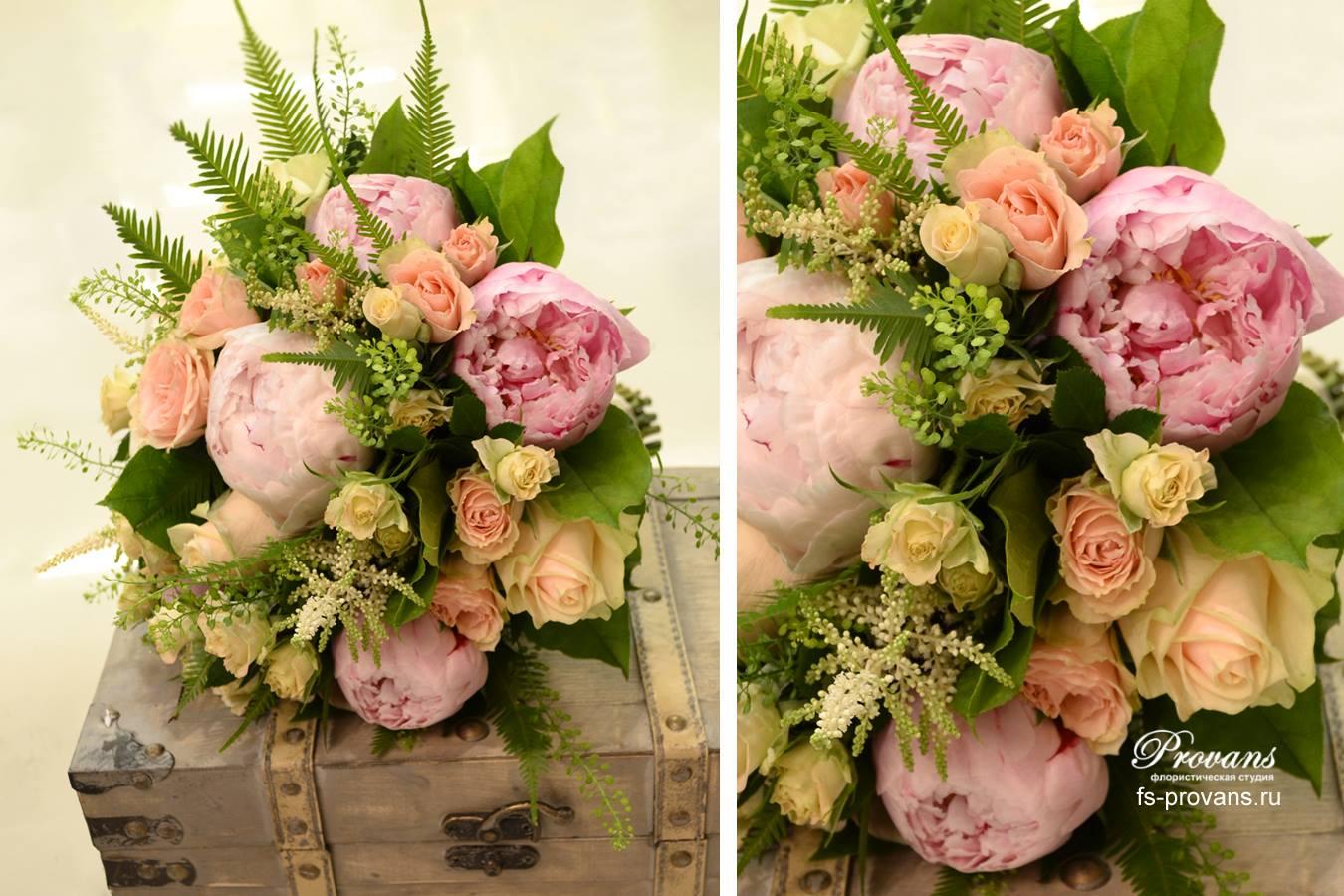 Свадебный букет. Розы, пионы