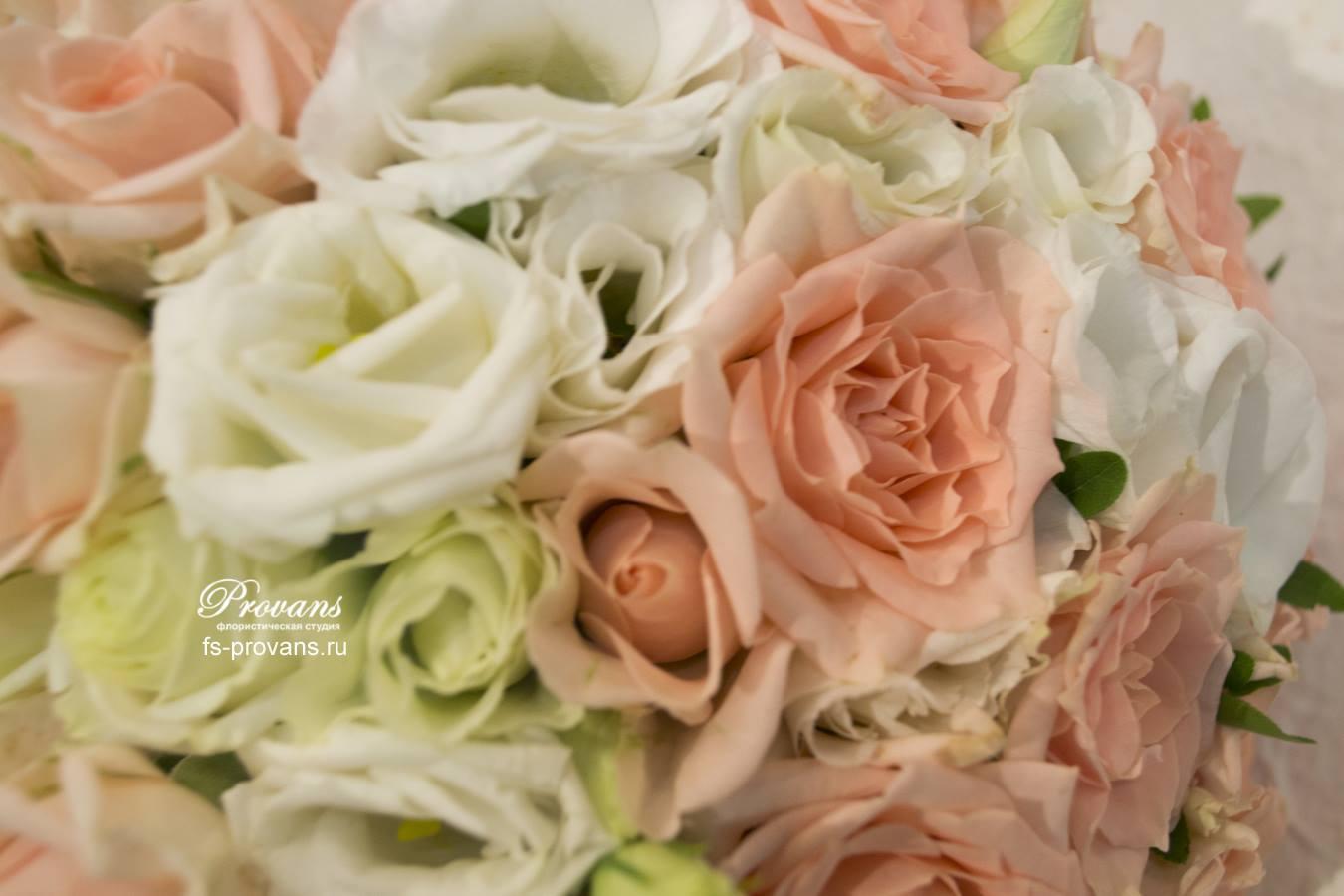 Свадебный букет. Розы, эустома