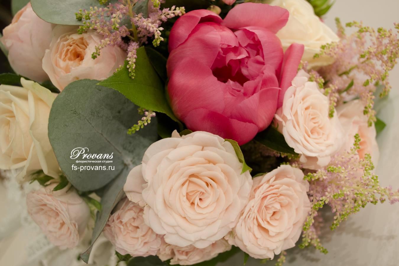 Свадебный букет. Французские розы, пионы