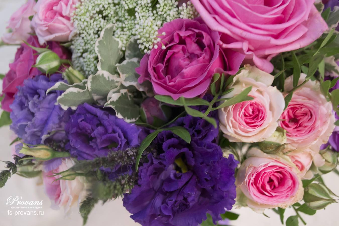 Свадебный букет. Розы, эустома, матиола