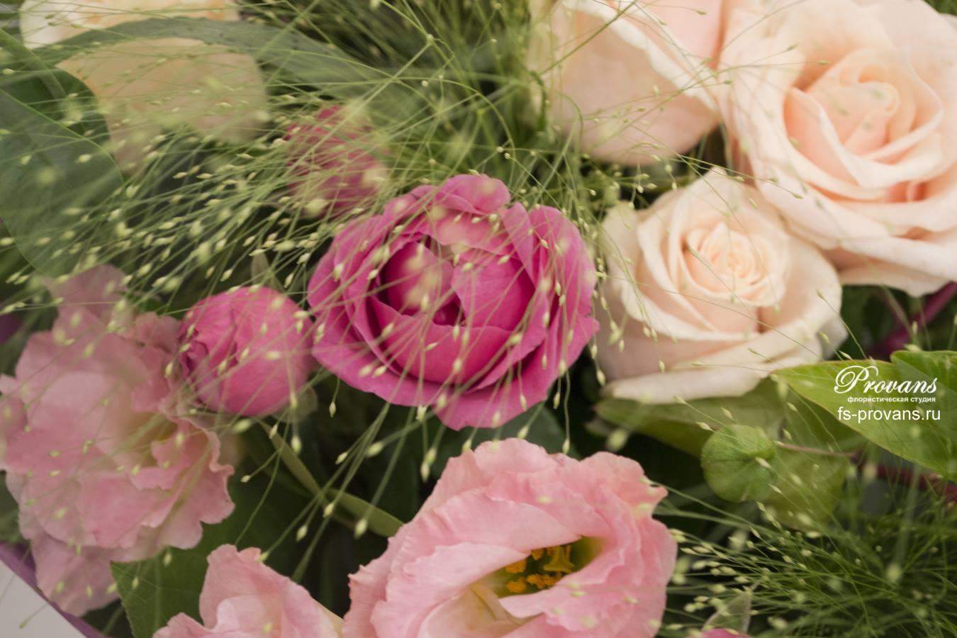 Букет на день рождения. Розы, эустома, амбрелла