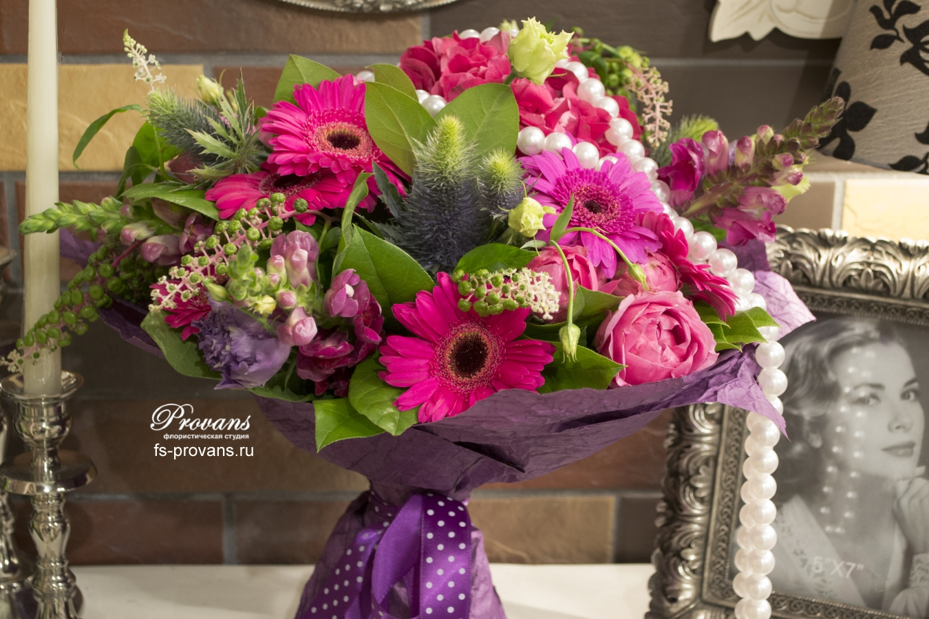 Букет на день матери. Гортензия, герберы, розы, эустома