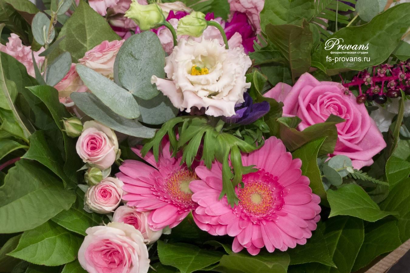 Букет на день рождения. Георгины, розы, герберы