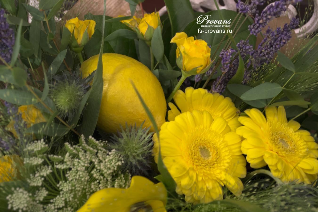 Букет на день рождения. Калла, гербера, розы, лаванда