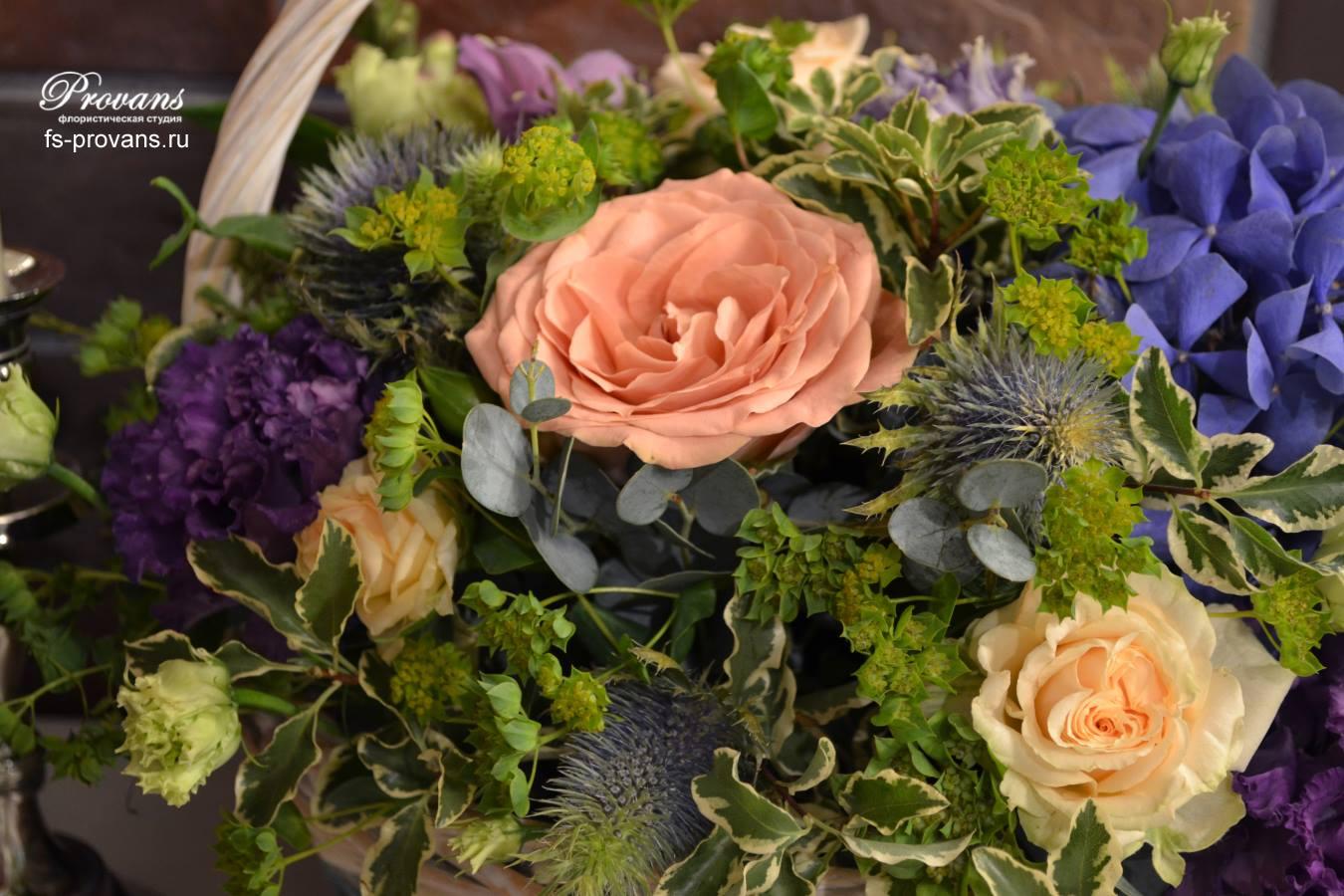 Корзина с цветами. Гортензия, розы, эустома