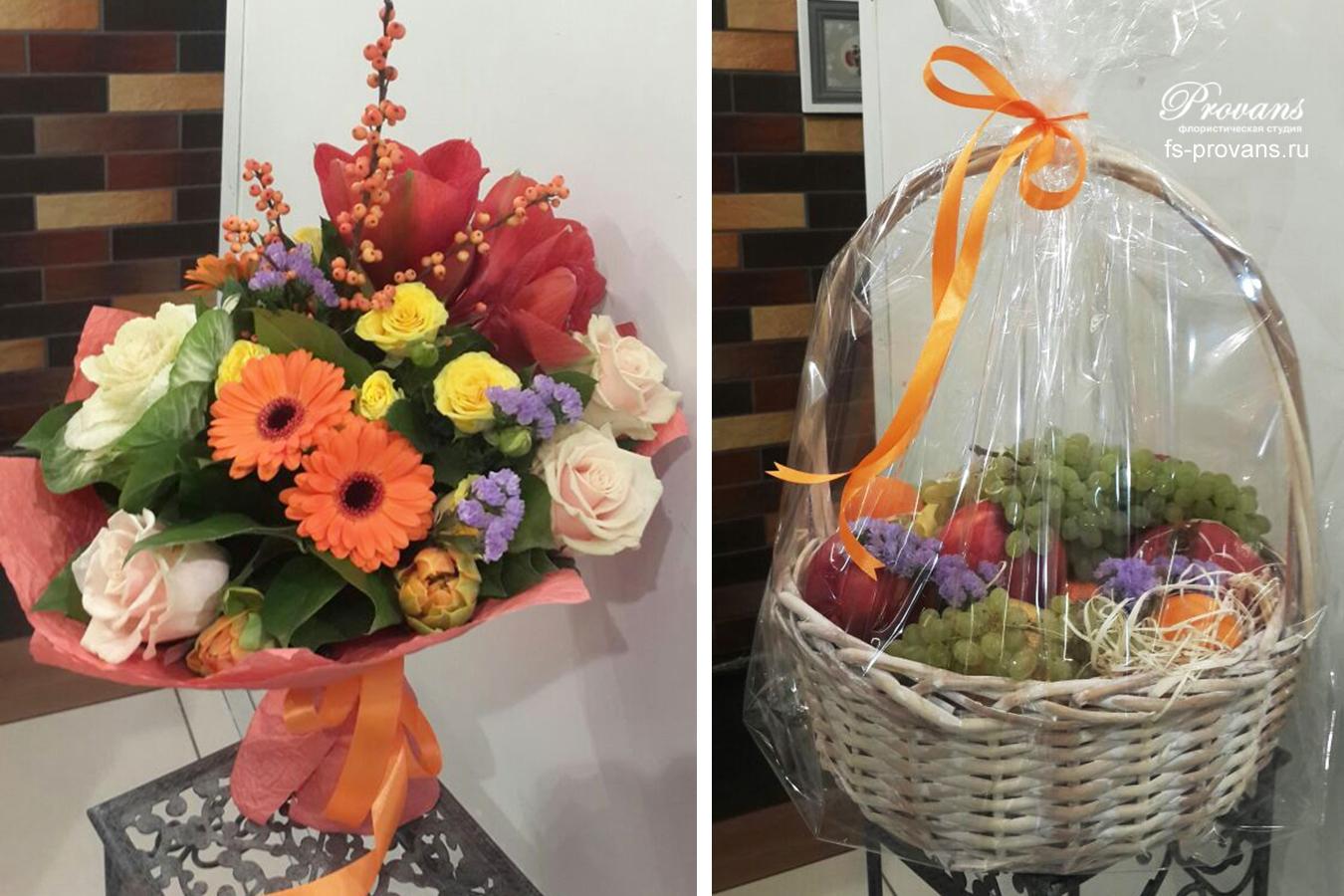 Корзина с фруктами и цветы. Герберы, розы, амариллис, тюльпаны