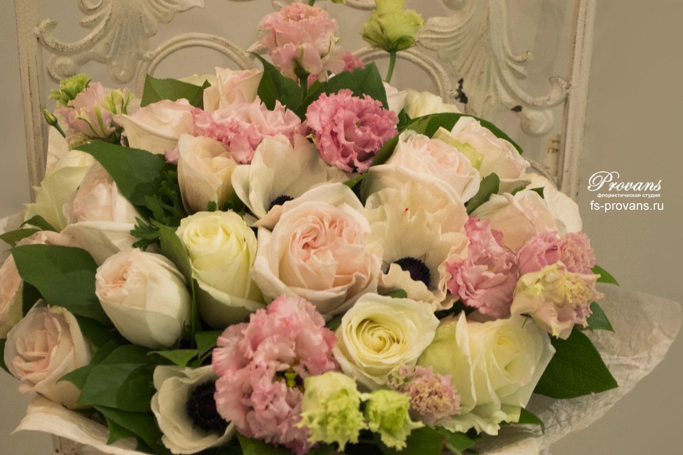 Букет на юбилей. Розы, эустома, анемоны