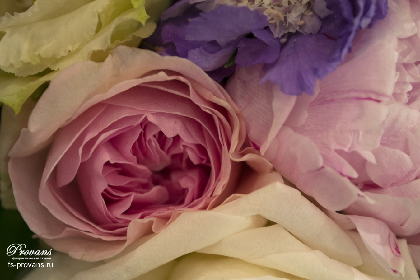 Свадебный букет. Пионовидные розы, пионы, скабиоза, эустома