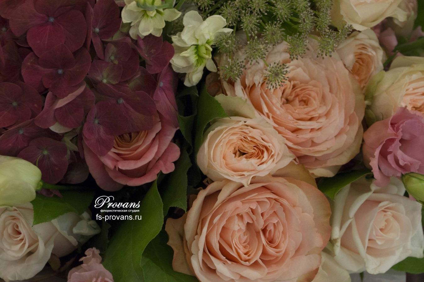 Букет на юбилей. Гортензия, роза, пионы, матиола, эустома