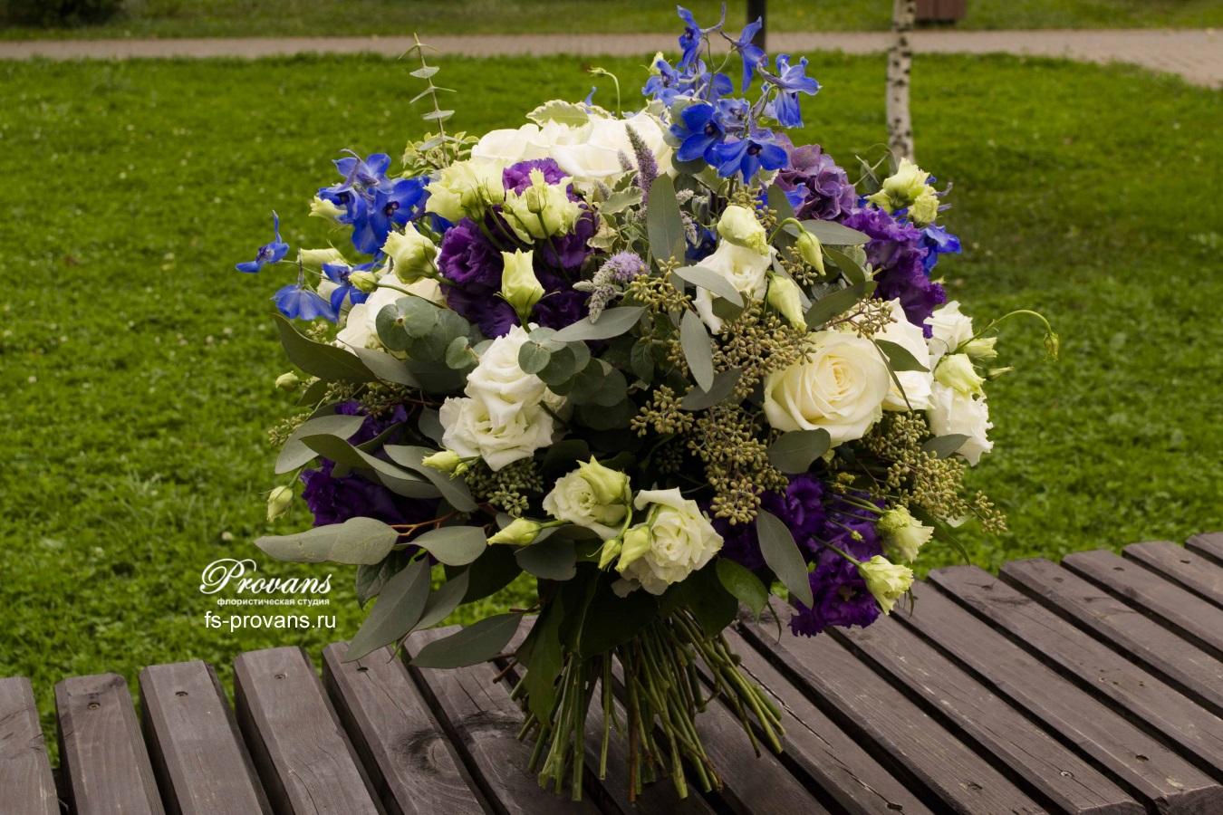 Букет на день рождения. Голубая мята, гортензия, дельфиниум, эустома, розы