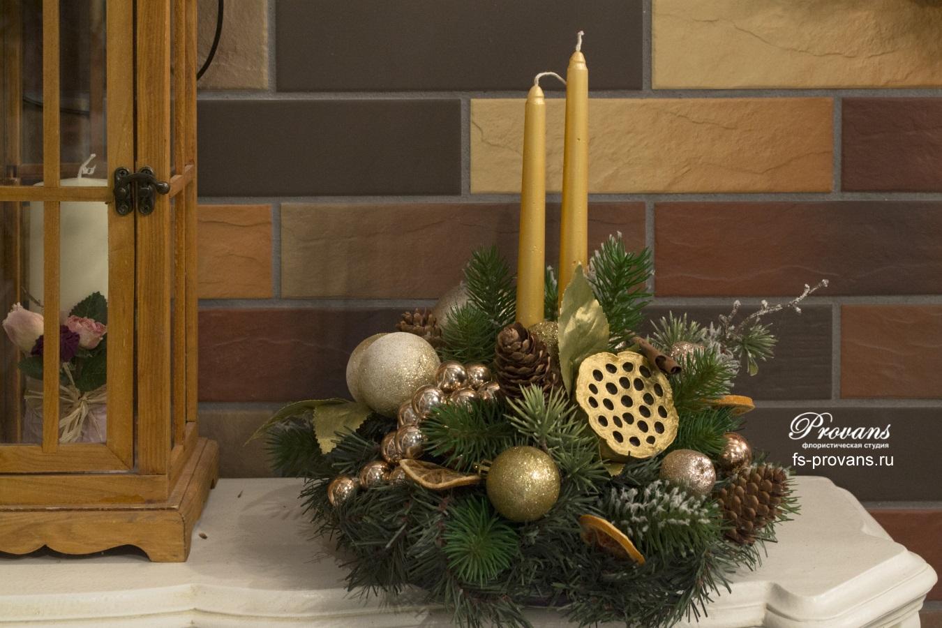 Новогодняя композиция Золотой лотос